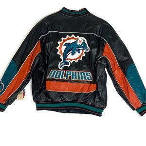 NEW Miami Dolphins Leather Coat Carl Banks XL VTG